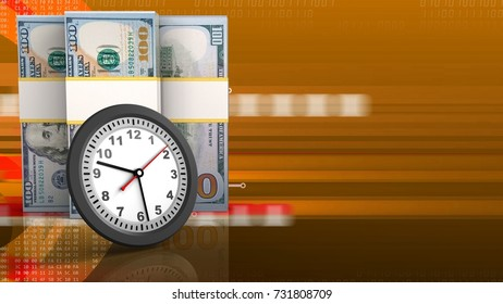 3d illustration of dollar banknotes over orange cyber background with clock