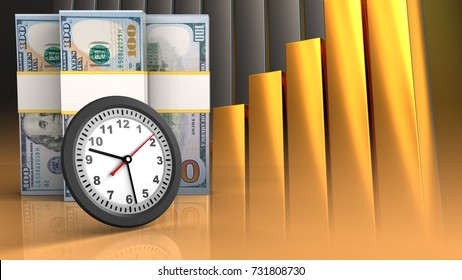 3d illustration of dollar banknotes over golden charts background with clock