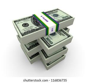 3d illustration of dollar bills on white background