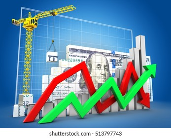 3d illustration of dollar construction over blue grid background with steel bars and arrows