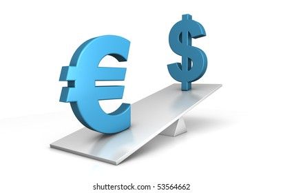 3d illustration of dollar and euro out of balance - euro is clearly in advantage - financial concept