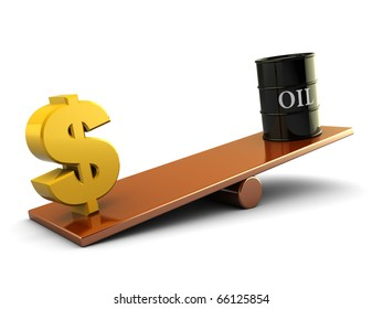 3d illustration of dollar sign and dollar barrel on scale board