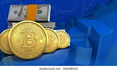 3d illustration of dollars stack over business charts background with bitcoins row