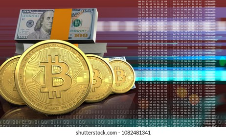 3d illustration of dollars stack over red cyber background with bitcoins row