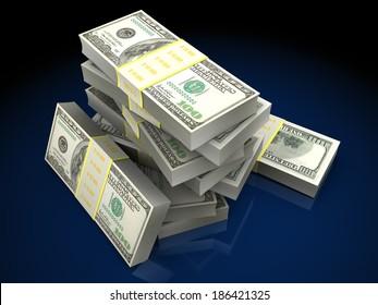 3d illustration of dollars stack over dark background