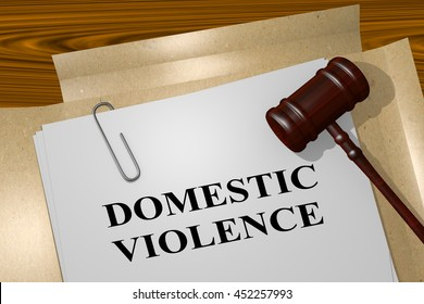 "3D illustration of ""DOMESTIC VIOLENCE"" title on legal document"