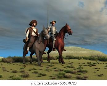 3d illustration of Don Quixote and Sancho Panza