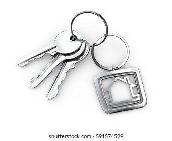 3d Illustration of Door keys with keychain isolated white