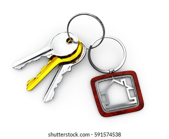 3d Illustration of Door keys with wood keychain isolated white
