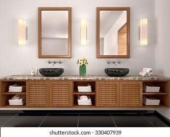 double sink bathroom mirrors. 3d Illustration Of Double Sink In The Bathroom Mediterranean-sty Mirrors