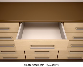 3D illustration of dresser with open empty box