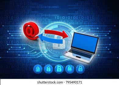 3d illustration e mail  laptop network