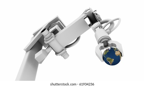 3D Illustration of Earth globe in the grip of a robot's claw.