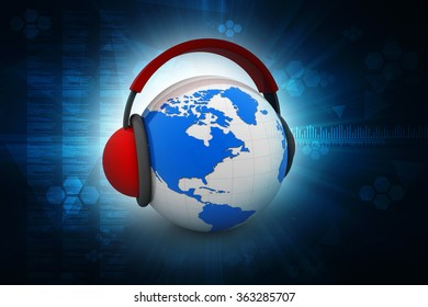 3d illustration of earth globe with headphones, world music concept