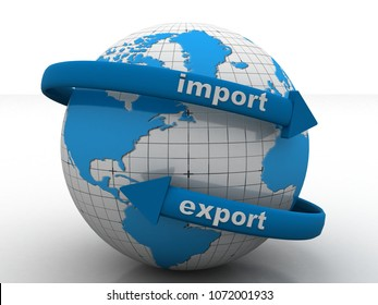 3d illustration earth globe with import export arrows