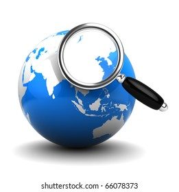 3d illustration of earth globe and magnify glass, internet search concept