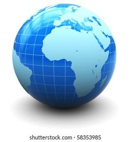 3d illustration of earth globe over white background