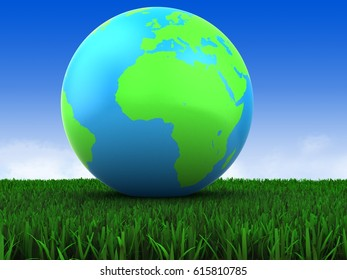 3d illustration of earth globe over meadow background with blank