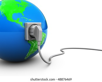 3d illustration of earth globe with power cable and outlet