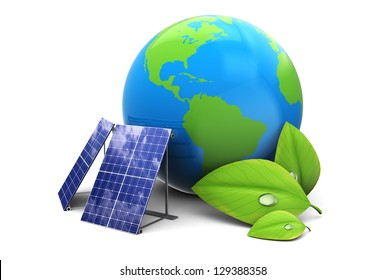 3d illustration of earth globe with solar panel, eco energy concept