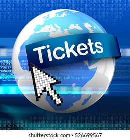 3d illustration of earth on digital background  with tickets text on blue banner