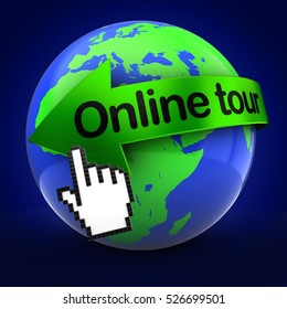 3d illustration of Earth over blue background  with online tour text on green arrow