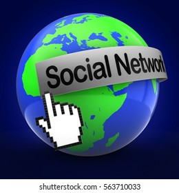 3d illustration of Earth over blue background  with social network text on steel banner