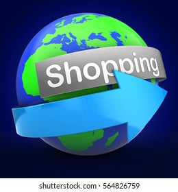 3d illustration of Earth over blue background  with shopping text on steel banner