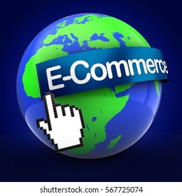 3d illustration of Earth over blue background  with e-commerce text on blue banner