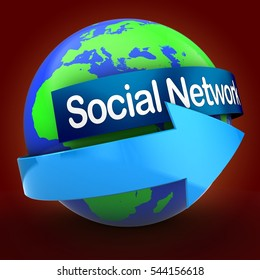 3d illustration of earth over red backdrop  with social network text on blue banner