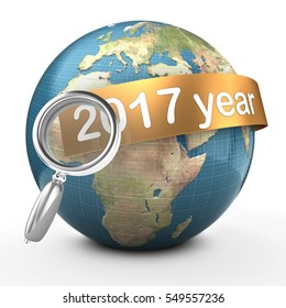 3d illustration of Earth over white  with 2017 year text on golden banner
