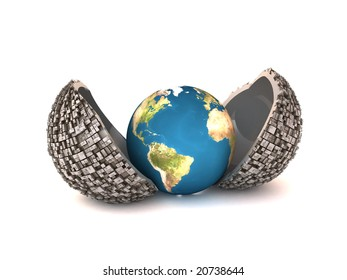 3d illustration of earth rebirth from industrial jacket