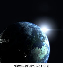 3D illustration of the Earth and the sun in space with. Created without reference images. Elements of this image furnished by NASA.