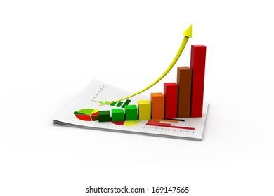 3D illustration of Economical Graph.