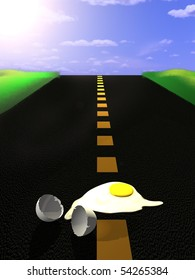 3d illustration of an egg frying on the asphalt on a very hot day