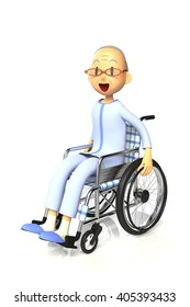 3D illustration of Elderly man who are using a wheelchair