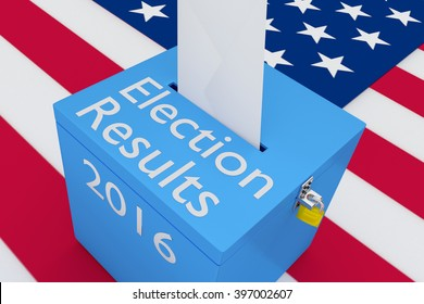 3D illustration of Election Results, 2016 scripts on ballot box, with US flag as a background. Election Concept.