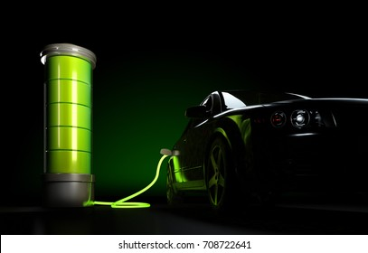 3d illustration of electric car connected to big battery. Concept of charging electrical automobile.