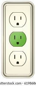 3D illustration of an electrical wall outlet on a white background. The one in the middle is green and shows a happy face, the other two seem sad. A metaphor for green energy. Clipping path included.