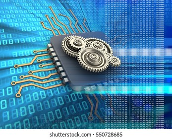 3d illustration of electronic microprocessor over digital background with gears