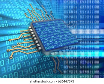 3d illustration of electronic microprocessor over digital background and binary code inside