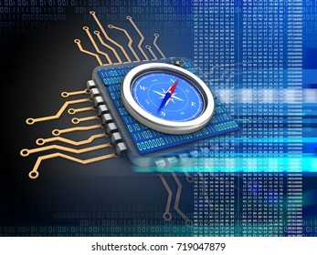 3d illustration of electronic microprocessor over black background with compass and binary code inside