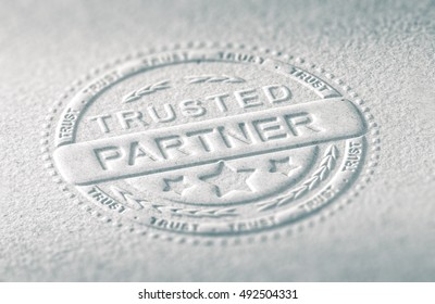 3D illustration of an embossed stamp with the text trusted partner, Paper background and blur effect. Concept of confidence in business relationship.