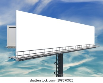 3d illustration of empty Billboard against blue cloudy sky