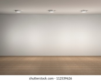3d illustration of a empty gallery wall