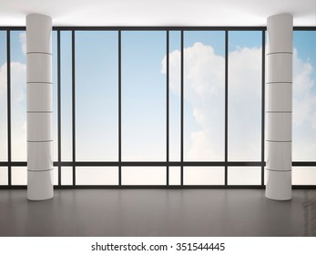 3d illustration of empty interior with large windows and columns