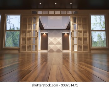 3d illustration of empty interior with open doors. low angle view
