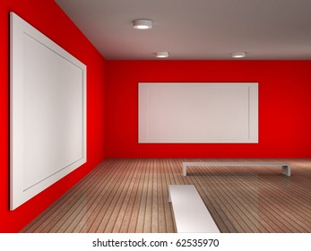 a 3d illustration of a empty museum room