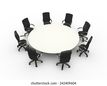 3d illustration of empty table chairs corporate business conference meeting