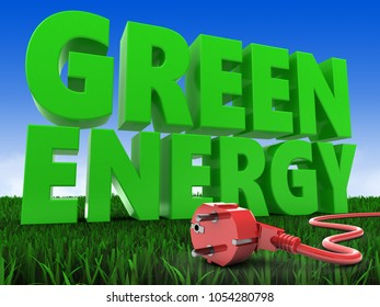 3d illustration of energy over meadow background with power cord